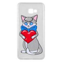 Чехол для Samsung J4 Plus 2018 Cute kitten with a heart in its paws