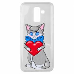 Чехол для Samsung J8 2018 Cute kitten with a heart in its paws