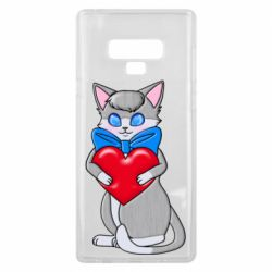 Чехол для Samsung Note 9 Cute kitten with a heart in its paws