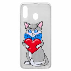 Чехол для Samsung A20 Cute kitten with a heart in its paws