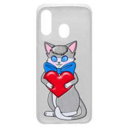Чехол для Samsung A40 Cute kitten with a heart in its paws