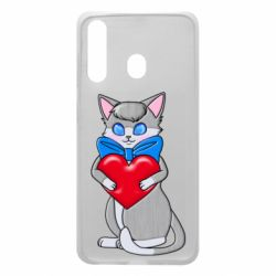 Чехол для Samsung A60 Cute kitten with a heart in its paws