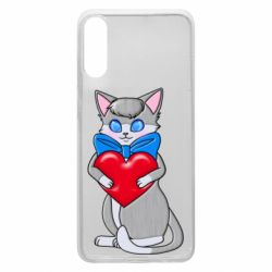 Чехол для Samsung A70 Cute kitten with a heart in its paws