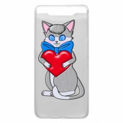 Чехол для Samsung A80 Cute kitten with a heart in its paws