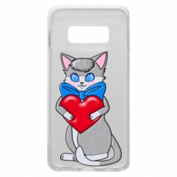 Чехол для Samsung S10e Cute kitten with a heart in its paws