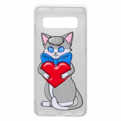 Чехол для Samsung S10 Cute kitten with a heart in its paws