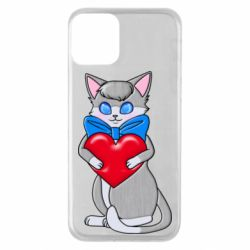 Чехол для iPhone 11 Cute kitten with a heart in its paws