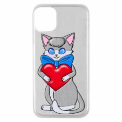 Чехол для iPhone 11 Pro Cute kitten with a heart in its paws