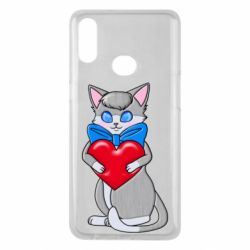 Чехол для Samsung A10s Cute kitten with a heart in its paws