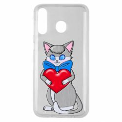 Чохол для Samsung M30 Cute kitten with a heart in its paws