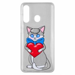 Чехол для Samsung M40 Cute kitten with a heart in its paws