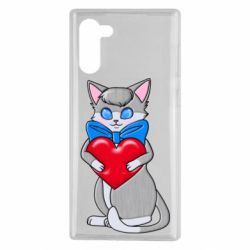 Чехол для Samsung Note 10 Cute kitten with a heart in its paws