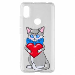 Чехол для Xiaomi Redmi S2 Cute kitten with a heart in its paws