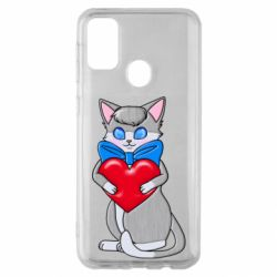 Чехол для Samsung M30s Cute kitten with a heart in its paws