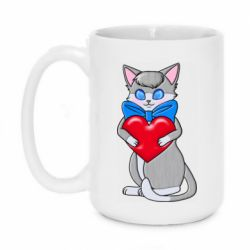 Кружка 420ml Cute kitten with a heart in its paws