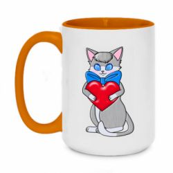 Кружка двухцветная 420ml Cute kitten with a heart in its paws