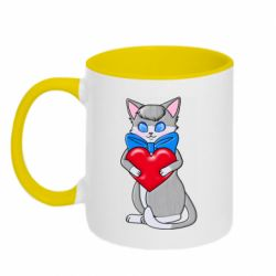 Кружка двухцветная 320ml Cute kitten with a heart in its paws