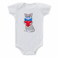 Детский бодик Cute kitten with a heart in its paws