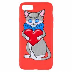 Чехол для iPhone 7 Cute kitten with a heart in its paws