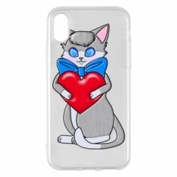 Чехол для iPhone X/Xs Cute kitten with a heart in its paws