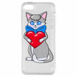 Чехол для iPhone5/5S/SE Cute kitten with a heart in its paws