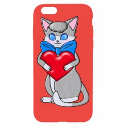 Чехол для iPhone 6/6S Cute kitten with a heart in its paws