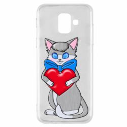 Чехол для Samsung A6 2018 Cute kitten with a heart in its paws