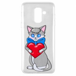 Чехол для Samsung A6+ 2018 Cute kitten with a heart in its paws