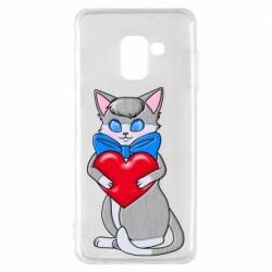 Чехол для Samsung A8 2018 Cute kitten with a heart in its paws
