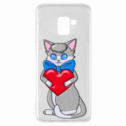 Чехол для Samsung A8+ 2018 Cute kitten with a heart in its paws