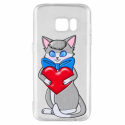 Чохол для Samsung S7 Cute kitten with a heart in its paws