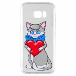 Чехол для Samsung S7 EDGE Cute kitten with a heart in its paws