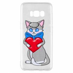 Чехол для Samsung S8 Cute kitten with a heart in its paws