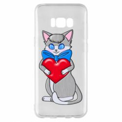 Чехол для Samsung S8+ Cute kitten with a heart in its paws