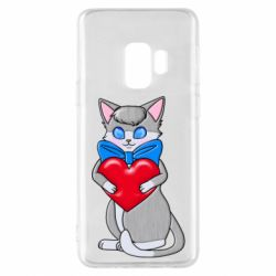 Чехол для Samsung S9 Cute kitten with a heart in its paws