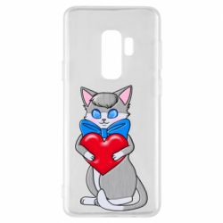 Чехол для Samsung S9+ Cute kitten with a heart in its paws