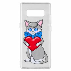 Чехол для Samsung Note 8 Cute kitten with a heart in its paws