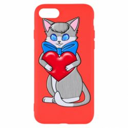 Чехол для iPhone 8 Cute kitten with a heart in its paws