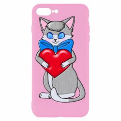 Чехол для iPhone 8 Plus Cute kitten with a heart in its paws