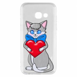 Чехол для Samsung A3 2017 Cute kitten with a heart in its paws
