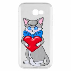 Чехол для Samsung A7 2017 Cute kitten with a heart in its paws