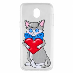 Чехол для Samsung J5 2017 Cute kitten with a heart in its paws