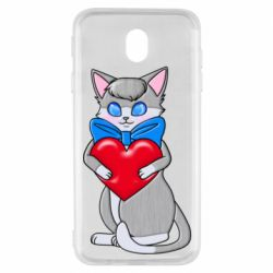 Чехол для Samsung J7 2017 Cute kitten with a heart in its paws
