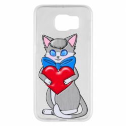 Чехол для Samsung S6 Cute kitten with a heart in its paws