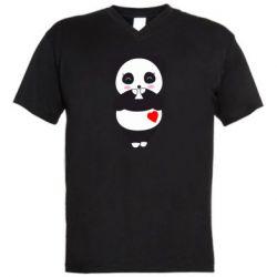 Чоловіча футболка з V-подібним вирізом Cute panda