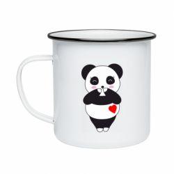 Кружка емальована Cute panda