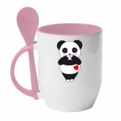 Кружка з керамічною ложкою Cute panda