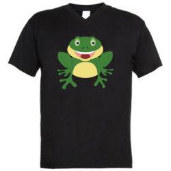 Мужская футболка  с V-образным вырезом Cute toad