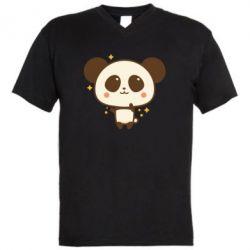 Чоловіча футболка з V-подібним вирізом Cute vector pandochka