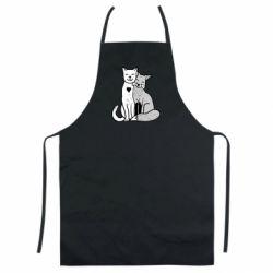 Кольоровий фартух Fox and cat heart